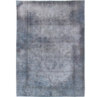 Distressed Vintage Indian Amritsar Rug in Gray Tones and Brown Highlights For Sale