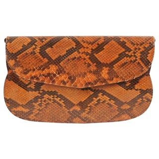 Charles Jourdan Copper Snakeskin Clutch or Shoulder Bag For Sale