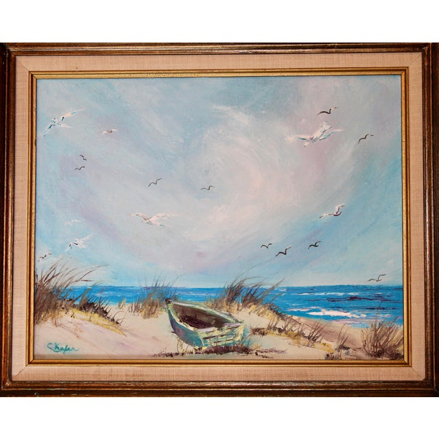 A superb vintage original oil painting of a beach scene with seagulls soaring overhead, an old row boat in the foreground,...