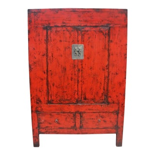Large Shanxi Red Lacquer Cabinet For Sale