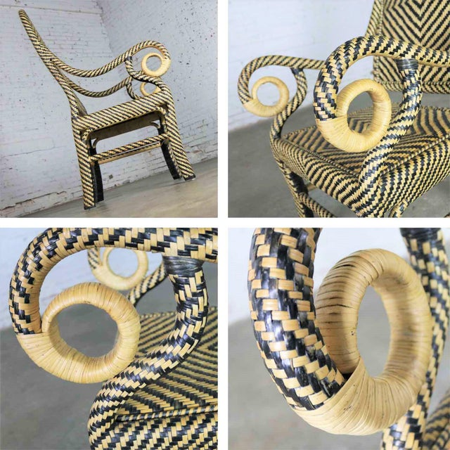 Two-Tone Chevron Pattern Rattan Wicker Tall Back Chair With Spiral Arms For Sale - Image 9 of 13
