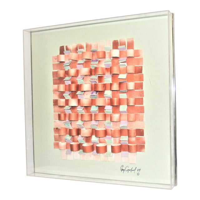 Mid-Century Modern Mixed Media Art in Lucite Box Frame Signed Greg Copeland For Sale