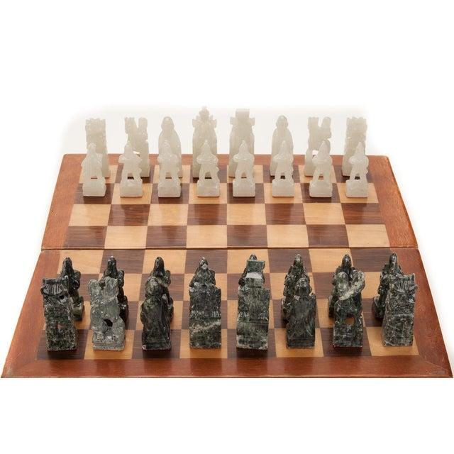 Chinese Green & White Jade Soap Stone Chess Set - Image 4 of 8
