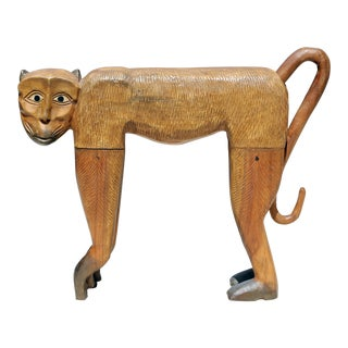 Vintage Hand-Carved Wood Chimpanzee Sculpture For Sale