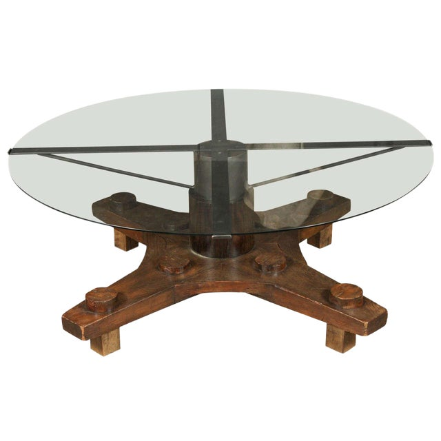 Round Glass Top Coffee Table Made From English Ship Port Part With Metal Base For Sale
