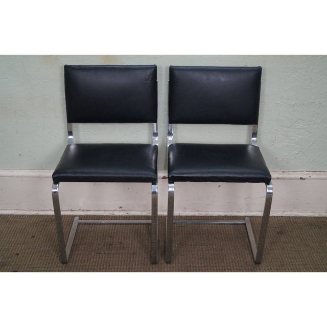 Store Item #: 14993 Custom MCM Set of 4 BRNO Armless Side Dining Chairs Mies van der Rohe AGE/COUNTRY OF ORIGIN: Approx 60...
