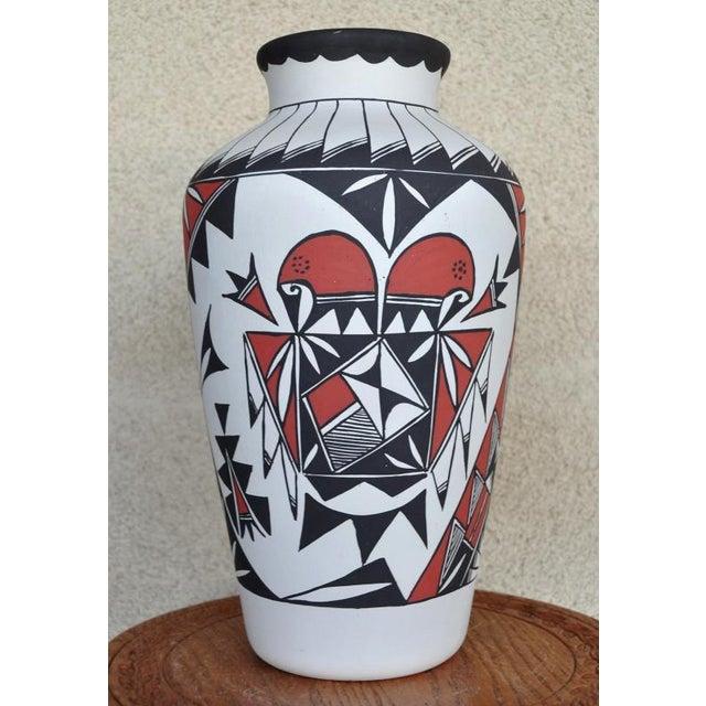 Hand Painted Laguna Pueblo Native American Style Pottery Vase by L  Romero  - 15