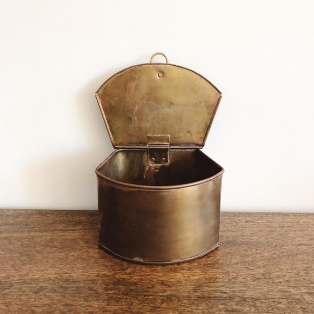 Metal 1960s Hanging Brass Planter / Mail Bin For Sale - Image 7 of 8