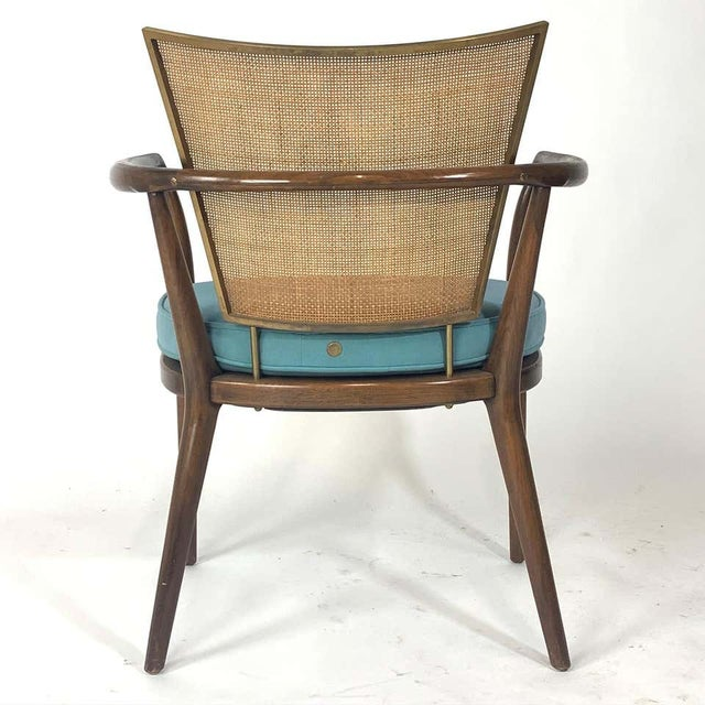 Pair of Sculptural Bert England Brass, Cane & Carved Walnut Arm or Dining Chairs For Sale - Image 9 of 13