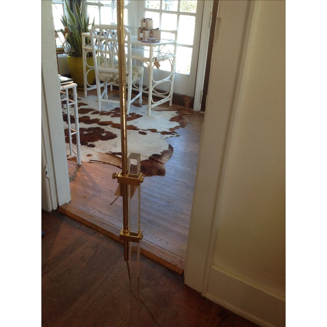 Vintage Lucite and Brass Floor Lamp - Image 5 of 5
