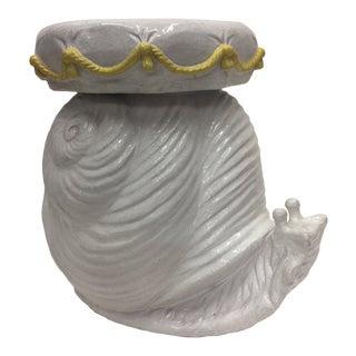 1960s Italian Glazed Terra Cotta Snail Side Table For Sale