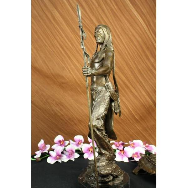 American Indian Wolf Bronze Art Deco Sculpture - Image 7 of 7