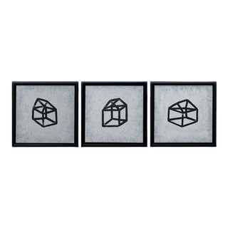"""Contemporary Geometric """"Glass House"""" Acrylic Painting Series by Michael Aron, Framed - Set of 3 For Sale"""