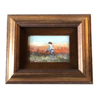 Vintage Enamel on Copper Small Painting Man Reaping Wheat For Sale