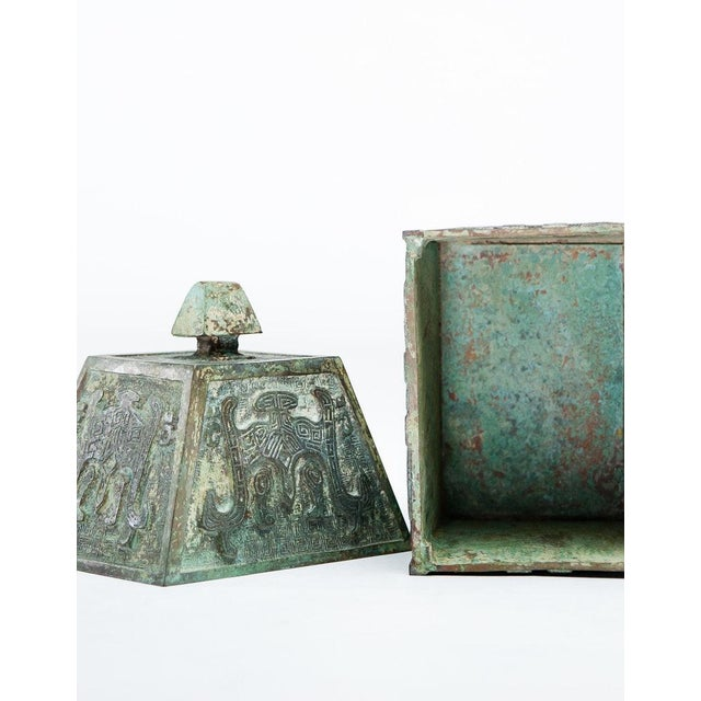 Asian Lawrence & Scott Verdigris Bronze Wine Vessel For Sale - Image 3 of 9