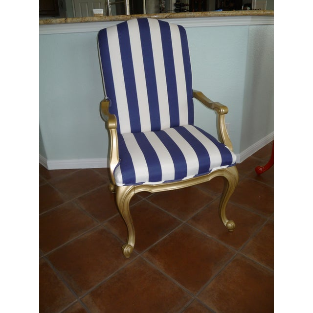 Regal Gold & Blue Striped Chair - Image 2 of 10