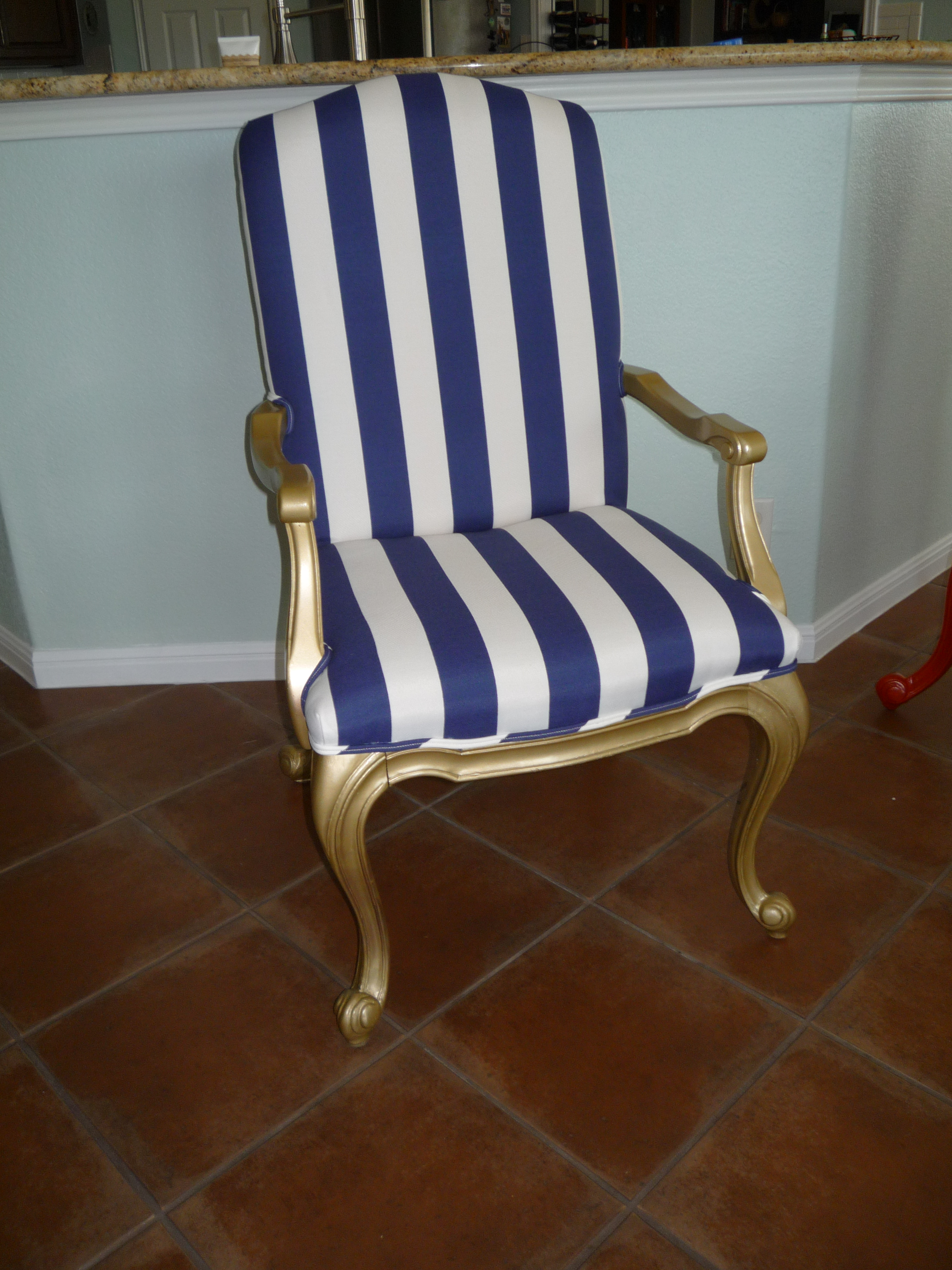 Gold And Royal Blue Combine To Make This Striking Chair Purely Regal!  Freshly Enameled And