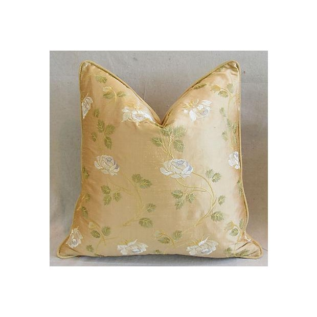 """24"""" Custom Tailored Embroidered White Rose Silk Feather/Down Pillows - Pair For Sale - Image 4 of 12"""