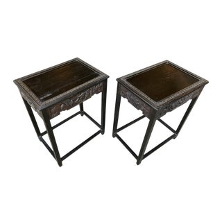 1940s Chinese Carved Side Tables - a Pair For Sale