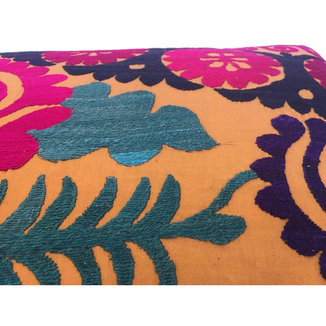 Asian Large Vintage Colorful Suzani Embroidery Throw Pillow For Sale - Image 3 of 13