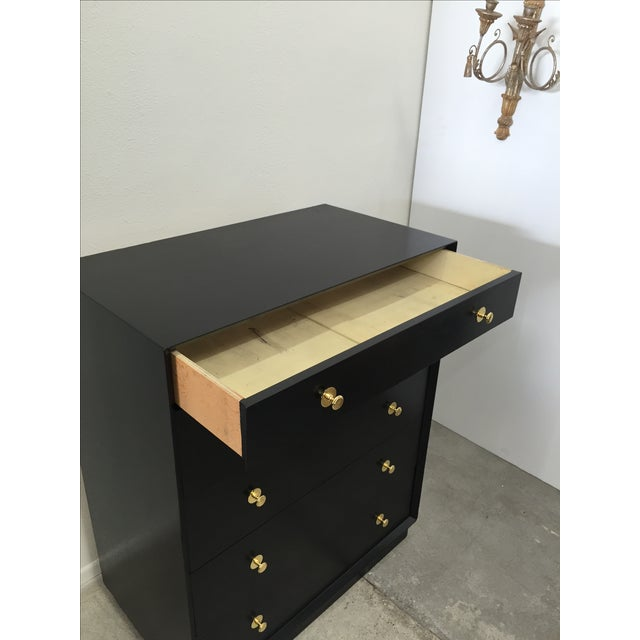 Ebonized Tall Dresser with Solid Brass Hardware For Sale - Image 5 of 10