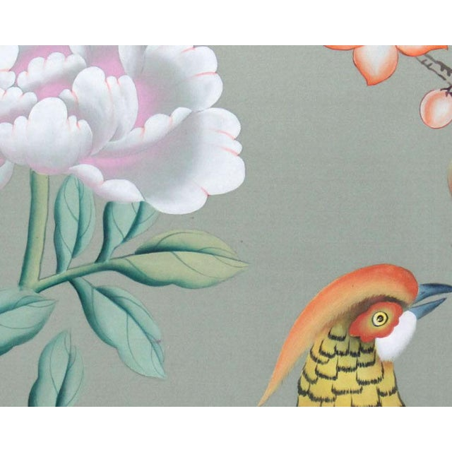 Chinoiserie Vintage Hand-Painted Chinoiserie Wallpaper Remnant Painting of a Pheasant on Celedon Silk For Sale - Image 3 of 7