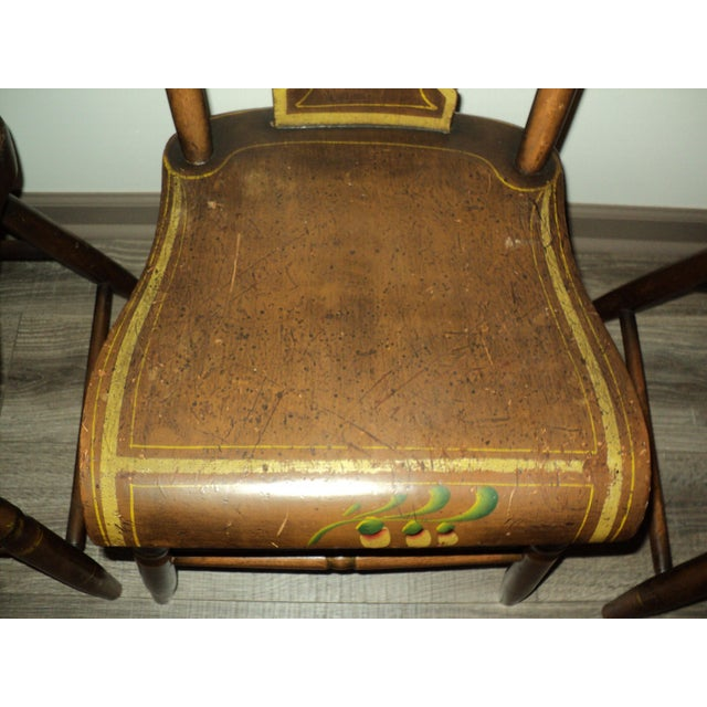 Green Late 19th Century Antique Hitchcock Style Painted Dining Room Side Chairs- Set of 6 For Sale - Image 8 of 9