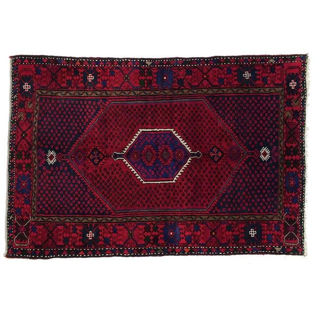 "Vintage Persian Hamadan Rug - 4'6"" X 6'7"" - Image 1 of 3"