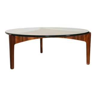 Danish Rosewood Reverse Trefoil Floating Top Coffee Table For Sale