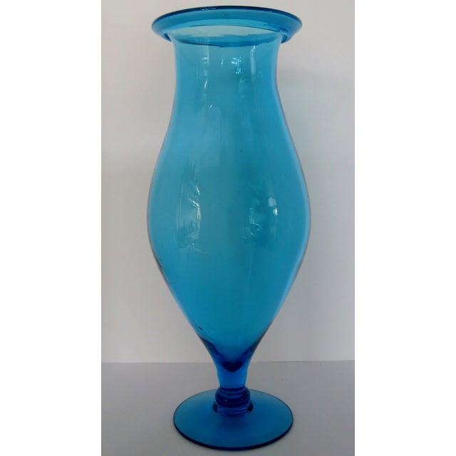 Blenko Turquoise Goblet Vase - Image 3 of 5