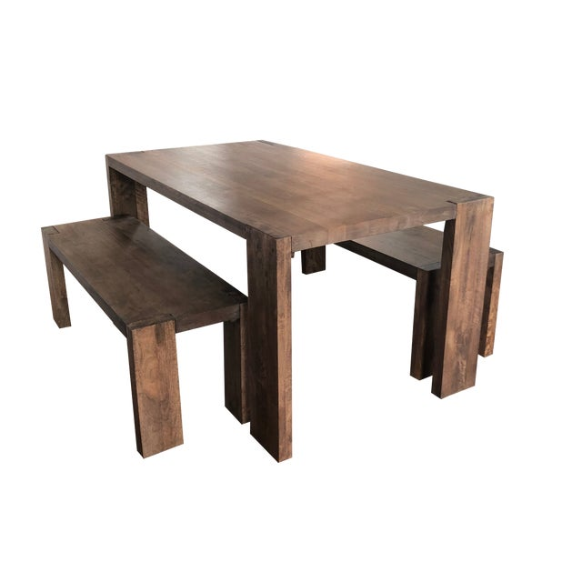 Cb2 Blox Dining Table Benches Chairish
