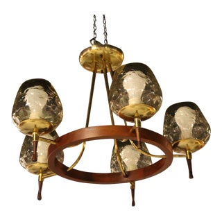 Mid-Century Danish Modern, Five-Light Champagne Chandelier For Sale