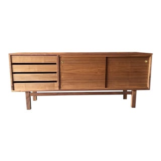 Mid Century Style Custom Walnut Credenza For Sale