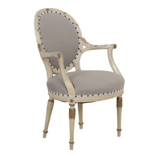 Circa 1940's French Louis XVI Style Gray Upholstered Arm Chair For Sale