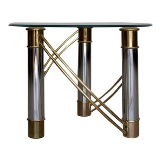 1970s Hollywood Regency Brass & Chrome End Table For Sale