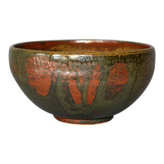 Vintage Scandinavian Modern Art Pottery Ceramic Decorative Bowl Brown & Bronze For Sale