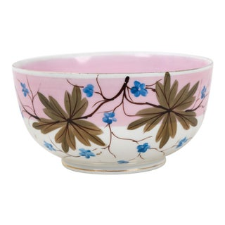 Vintage Rs Prussia Porcelain Bowl Half Glazed in Pink With Small Blue Blossoms For Sale