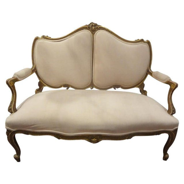Late 19th Century Italian Louis XV Style Giltwood Loveseat For Sale - Image 11 of 11