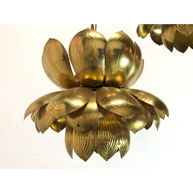 Pair of Brass Lotus Pendants For Sale - Image 11 of 12