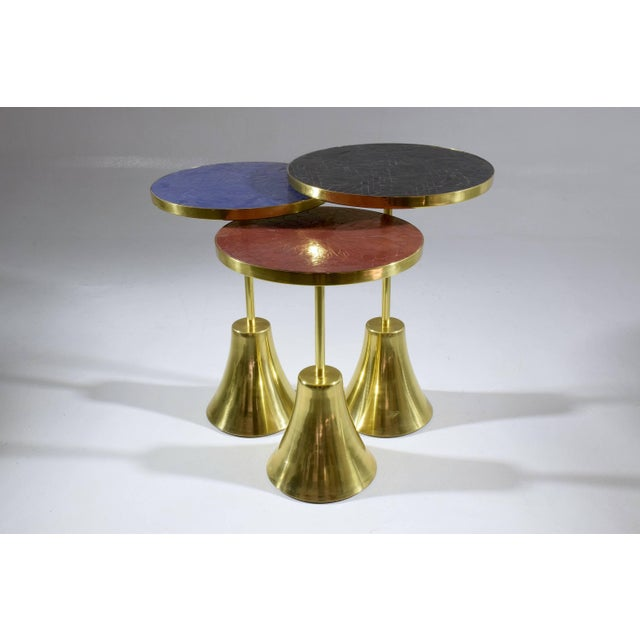 Not Yet Made - Made To Order Z-I-I Contemporary Brass Mosaic Side Table, Flow Collection For Sale - Image 5 of 10