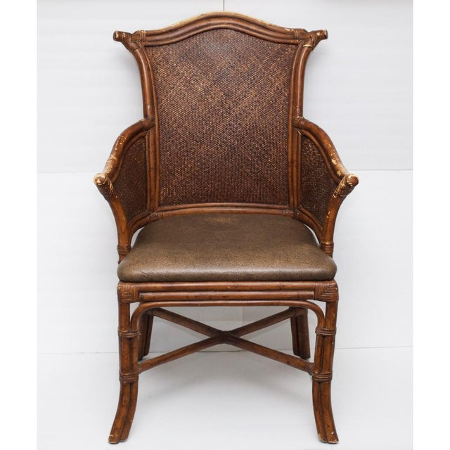 Vintage Chippendale Style Bamboo & Leather Chair - Image 2 of 9