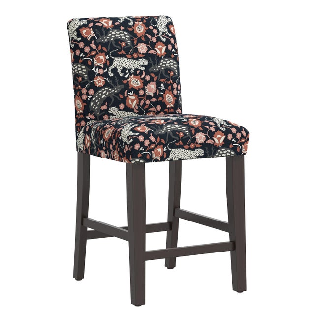 Orange Counter Stool in Leopard Coral Navy For Sale - Image 8 of 8