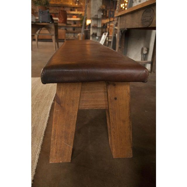 Dark Brown Large Vintage Leather Gym Mat Seating - Image 4 of 6