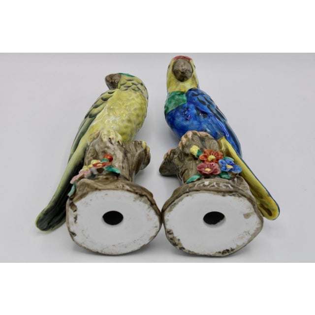 Blue and Green Ceramic Parrot Bird Figurines - a Pair For Sale - Image 10 of 12