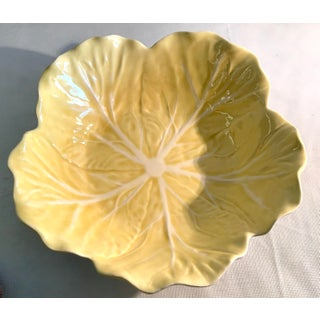 20th Century Cottage Majolica Yellow Cabbage Serving Bowl Preview
