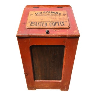 Antique Pine Roasted Coffee Store Bin For Sale