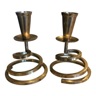 1980s Modernist Solid Brass Spiral Candle Holders - A Pair For Sale
