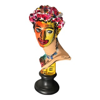 Peter Keil Unique Colorful Abstract Sculpture Bust For Sale