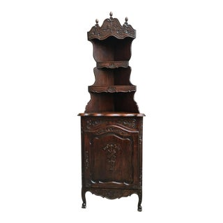 19th Century Antique French Country Carved Dark Oak Corner Bookcase For Sale