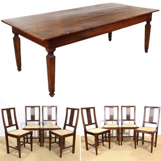 18th C. Italian Cherry Farm Table With Eight Vintage Custom Chairs - 9 Pieces Preview